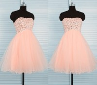 Cute Ball Strapless Short Peach Tulle Beaded Prom Dress ...