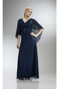 Elegant V Neck Long Navy Blue Chiffon Mother Evening Dress