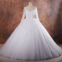 Fairy Tale Ball Gown Illusion Neckline Long Sleeve Puffy