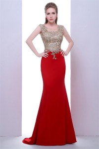 Fitted Illusion Neckline Long Red Jersey Gold Lace Evening ...