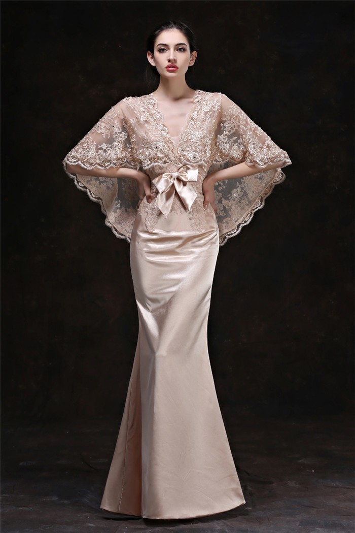 Mermaid V Neck Champagne Satin Occasion Evening Dress With