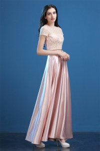 Modest Sheath Long Blush Pink Silk Satin Lace Evening Prom ...