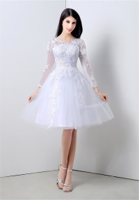 Princess A Line Short White Tulle Lace Party Prom Dress