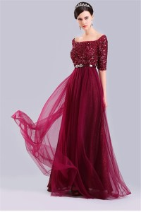 Sexy Off The Shoulder Half Sleeve Burgundy Tulle Sequin ...