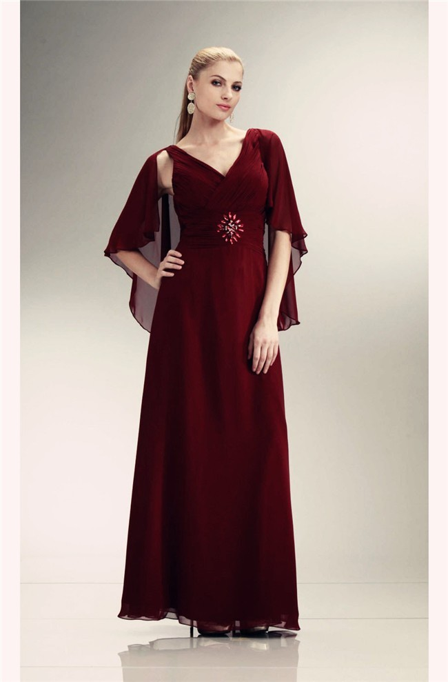 Sheath V Neck Long Burgundy Chiffon Mother Evening Dress