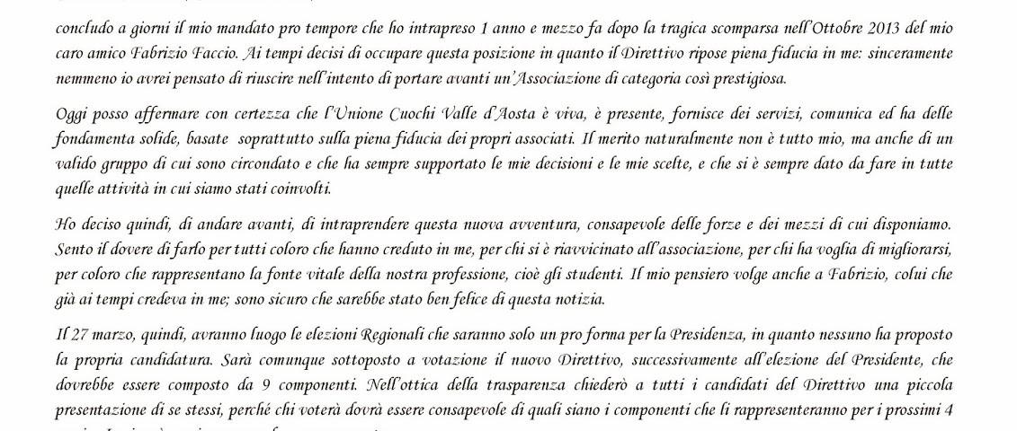 Lettera di presentazione \u2013 Candidato Presidente Unione Cuochi VdA