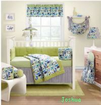 Lime Green and Black Nursery Bedding for Baby