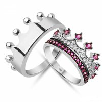 King & Queen,crown ring,crown ring set,gold crown ring ...