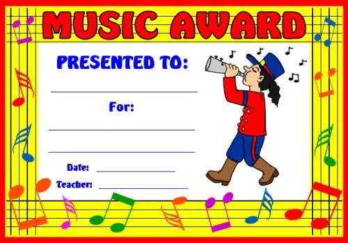 Art and Music Award Certificates - class certificates template