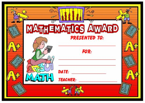 printable math awards - Selol-ink