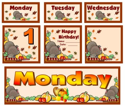 Thanksgiving Bulletin Board Displays and Puzzles For November, Fall