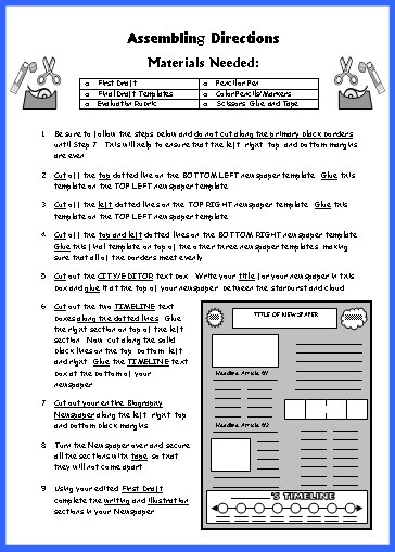 Biography Book Report Newspaper templates, worksheets, and grading - Newspaper Templates For Kids