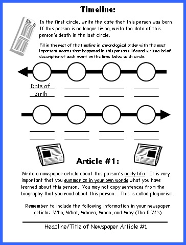 Biography Book Report Newspaper templates, worksheets, and grading - Sample Biography Timeline