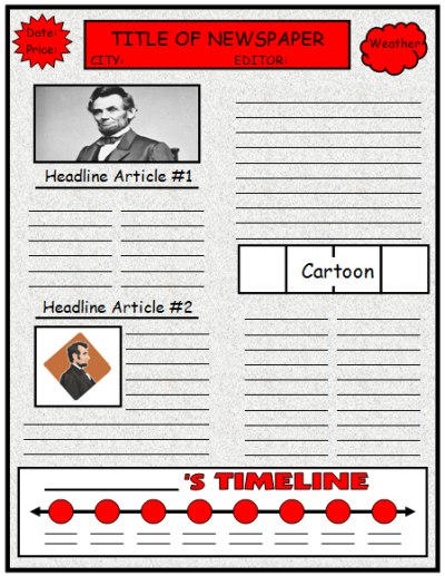 Biography Book Report Newspaper templates, worksheets, and grading