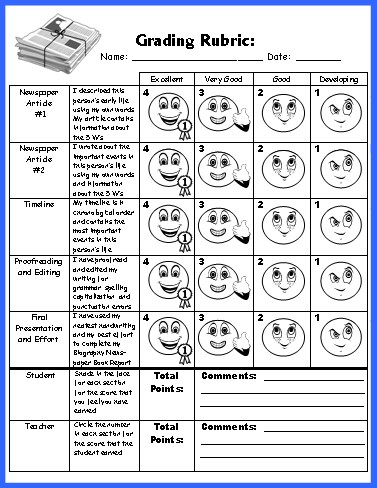 Biography Book Report Newspaper templates, worksheets, and grading - printable newspaper templates