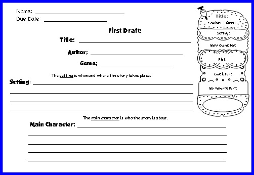 Cheeseburger Book Report Project templates, printable worksheets - book report template free