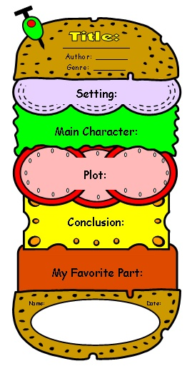 Cheeseburger Book Report Project templates, printable worksheets - printable book review template