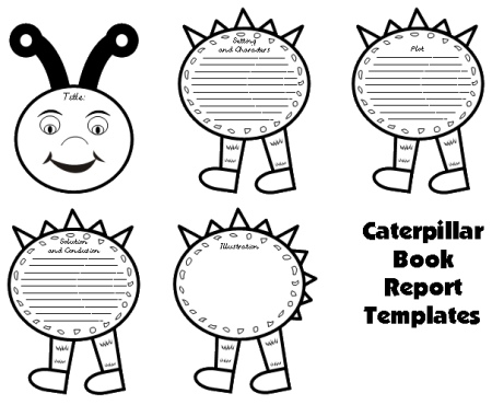 Caterpillar Book Report Project templates, worksheets, grading - book report template free
