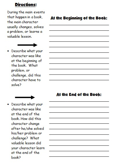 Character Body Book Report Project templates, worksheets, rubric