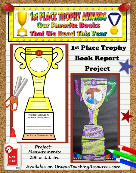 Favorite Book Report Trophy Project templates, worksheets, rubric