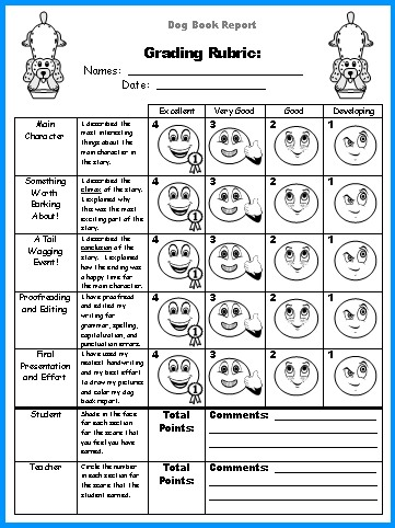 Dog Book Report Project templates, worksheets, grading rubric, and - rubric templates