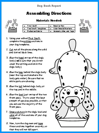 Dog Book Report Project templates, worksheets, grading rubric, and