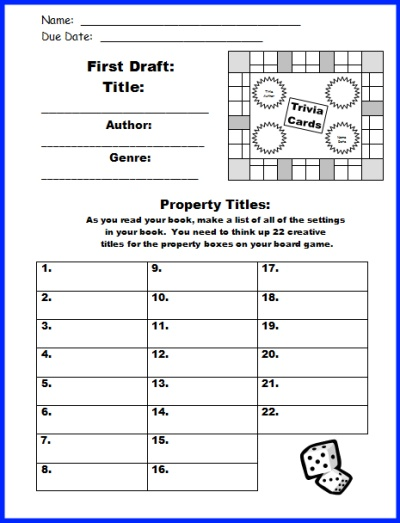 Game Board Book Report Project templates, worksheets, grading