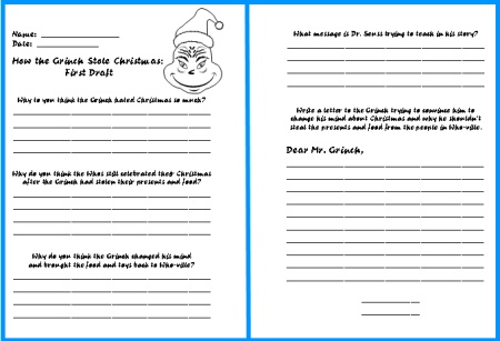 How The Grinch Stole Christmas Writing Worksheet