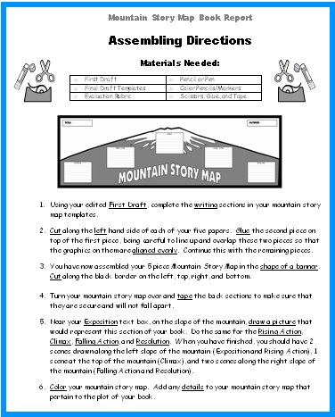 Mountain Story Map Book Report Project templates, grading rubric - story map template