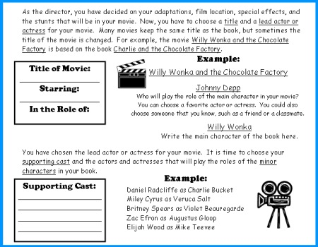 Movie Camera Book Report Project templates, worksheets, rubric, and