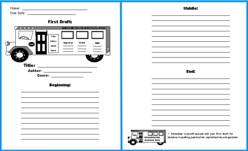 School Bus Book Report Project templates, worksheets, grading