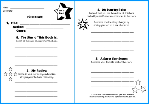 Star Book Report Project templates, worksheets, grading rubric, and - book report template free