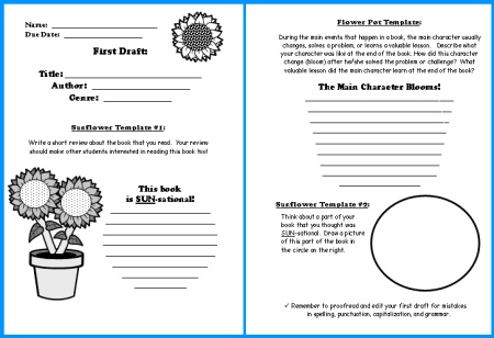 Sunflower Book Report Projects templates, worksheets, grading - book report printable