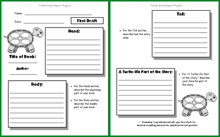 Turtle Book Report Project templates, printable worksheets, and - printable book report forms