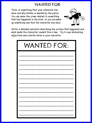 Wanted Poster Book Report Project templates, worksheets, rubric - printable book report forms