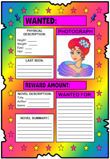 Wanted Poster Book Report Project templates, worksheets, rubric - example of a wanted poster