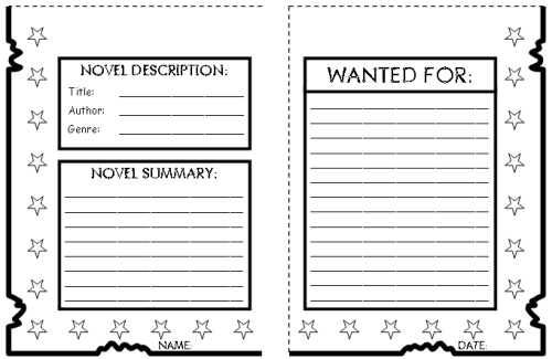 Wanted Poster Book Report Project templates, worksheets, rubric