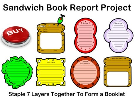 Sandwich Book Report Project templates, printable worksheets, and - book report printable