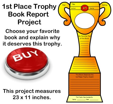 Favorite Book Report Trophy Project templates, worksheets, rubric - first place award template