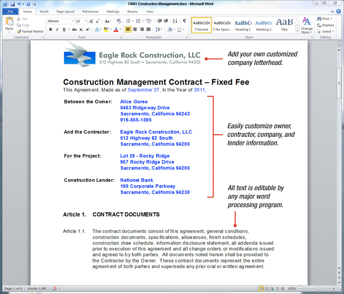 UDA ConstructionDocs - Construction Management Contract Templates - contract for construction work template
