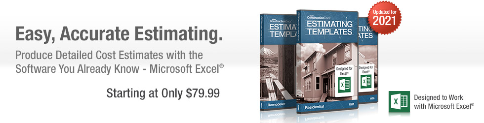 UDA Excel Construction Estimating Templates, Contracts, Software
