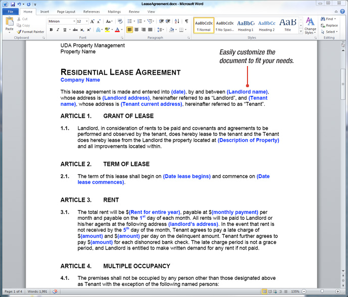 UDA ConstructionDocs - Property Management Forms, Lease Agreements