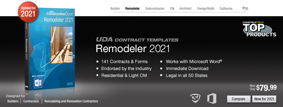 UDA ConstructionDocs - Remodeling Contract Templates - remodeling contract template