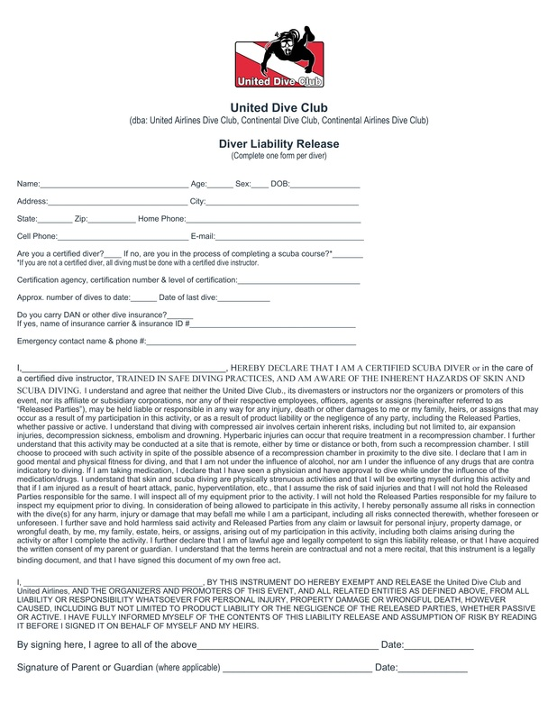 Liability/Release Form - United Dive Club - liability release form