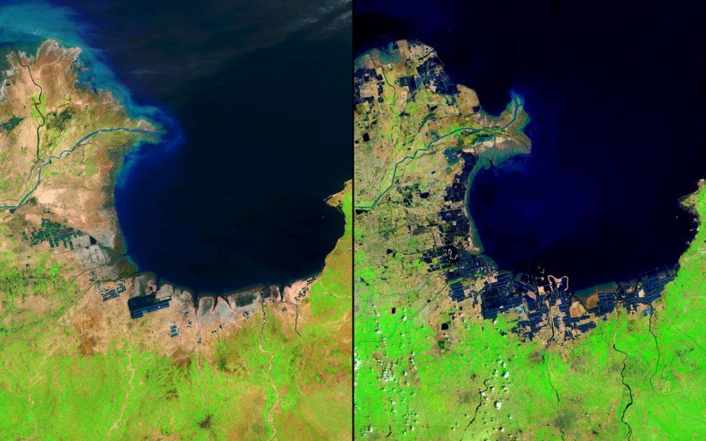 Cambios en el delta del río, China (Mayo 1985 – mayo 2014): El río Amarillo transporta cada año millones de toneladas de sedimento desde una meseta que cruza a un delta en el Mar de Bohai. Estas imágenes muestran el crecimiento del delta de 1985 a 2014.