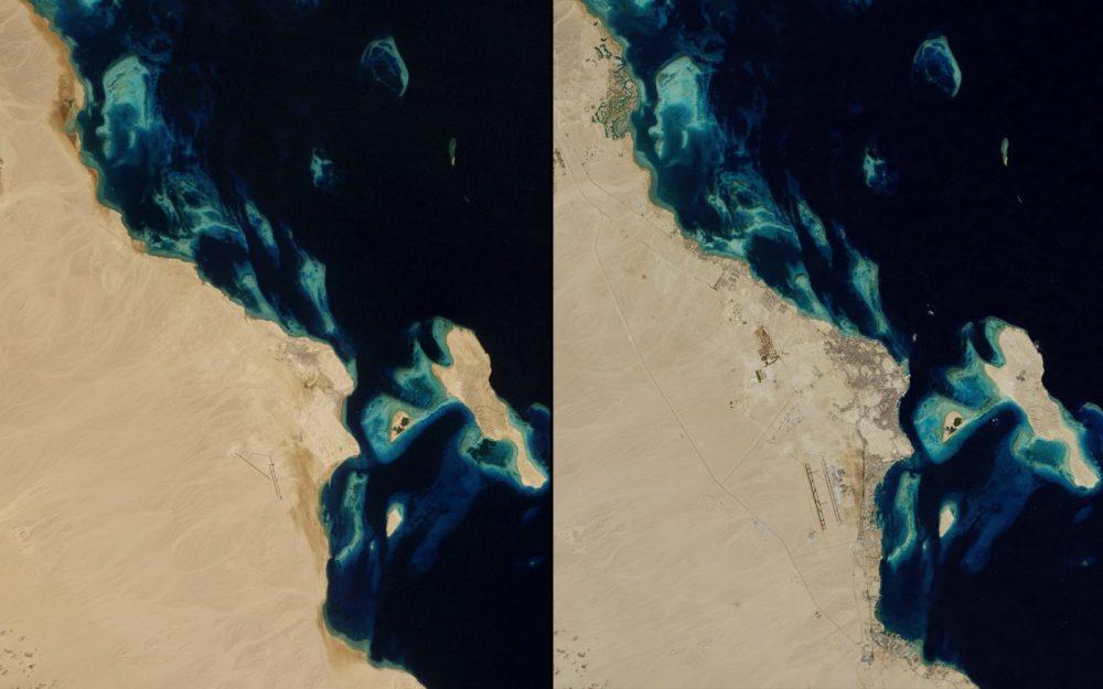 Crecimiento urbano, Egipto (Enero 1985 – noviembre 2014): En la década de 1980, sólo 12.000 personas vivían en Hurghada. Para el año 2014, más de 250.000 personas vivían allí y más de 1 millón de turistas visitan cada año para bucear en su arrecife de coral. Sin embargo, se ha pagado un precio: los corales cercanos a Hurghada han disminuido hasta en un 50% en estas tres décadas debido vertido de sedimentos, los daños causados por los buzos descuidados, y otros factores relacionados con el desarrollo de la zona.