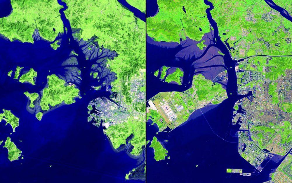 Crecimiento urbano, Corea del Sur (Septiembre 1981 – septiembre 2013): La zona litoral de Incheon ha cambiado drásticamente en los últimos 32 años. Zonas pantanosas se han convertido en tierra utilizable y el desarrollo urbano se ha expandido. Las islas se han conectado para acomodar el aeropuerto internacional. El nuevo puente de Incheon, que se inauguró en octubre de 2009 es visible en la imagen de 2013.