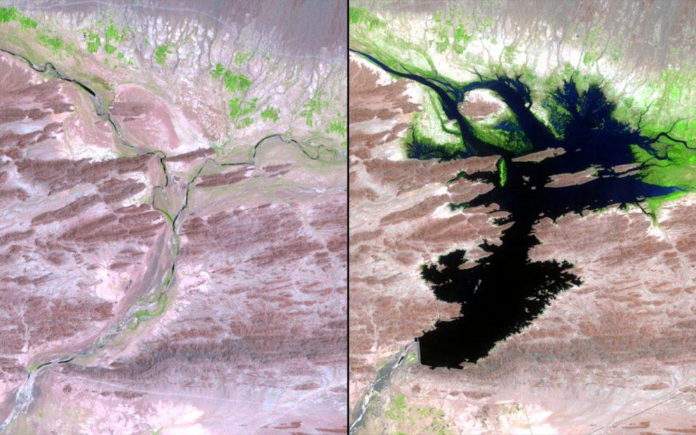 Impacto del embalse, Pakistán (Agosto 1999 – junio 2011): La presa de Mirani en el río Dasht en el sur de Pakistán se completó en 2006. El embalse resultante proporciona agua potable, irrigación y energía hidroeléctrica. Aunque la presa también ayuda a controlar las inundaciones, las fuertes lluvias en 2007 provocó inundaciones que desplazaron a más de 15.000 personas.