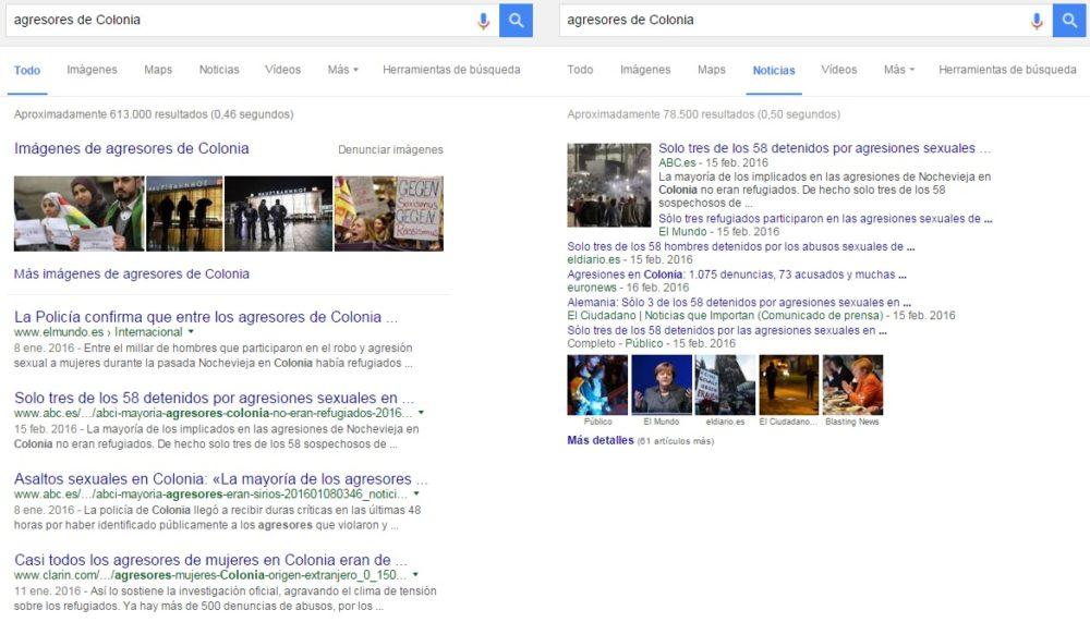 """Búsqueda en Google sobre """"agresores de Colonia"""" para medir su repercusión. Comparación con la búsqueda en Noticias del mismo buscador. Elaboración propia."""