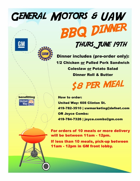 General Motors and UAW BBQ Dinners Thursday, June 19th to Benefit - bbq benefit flyers